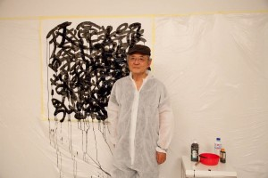 Taka Iimura ante a sua White Calligraphy na (S8) 5ª Mostra de Cinema Periférico (Foto: María Messeguer)