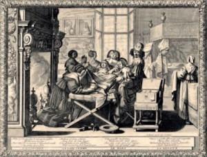 Muller dando a luz. Abraham Bosse e Jean Le Blond. Século XVIII. National Library, Londres