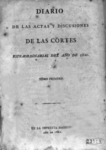 O Escritor. Diario actas Cortes 1821. Imaxe