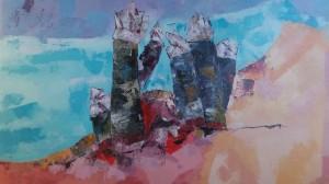 Cadro «Cousas de Aguiño», acrílico pintado no 2019