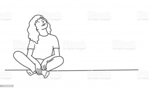 Girl sit on the floor and look up. Line drawing vector illustration.